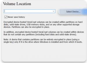 Figure 10 VeraCrypt volume location