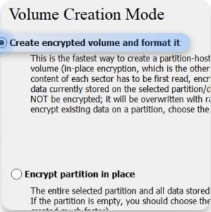 Figure 11 VeraCrypt volume creation mode