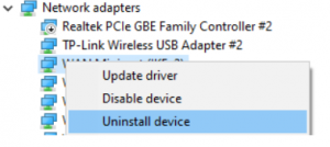 Network Adapter Driver option