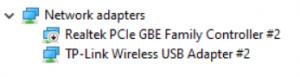 Network Adapter drop down menu